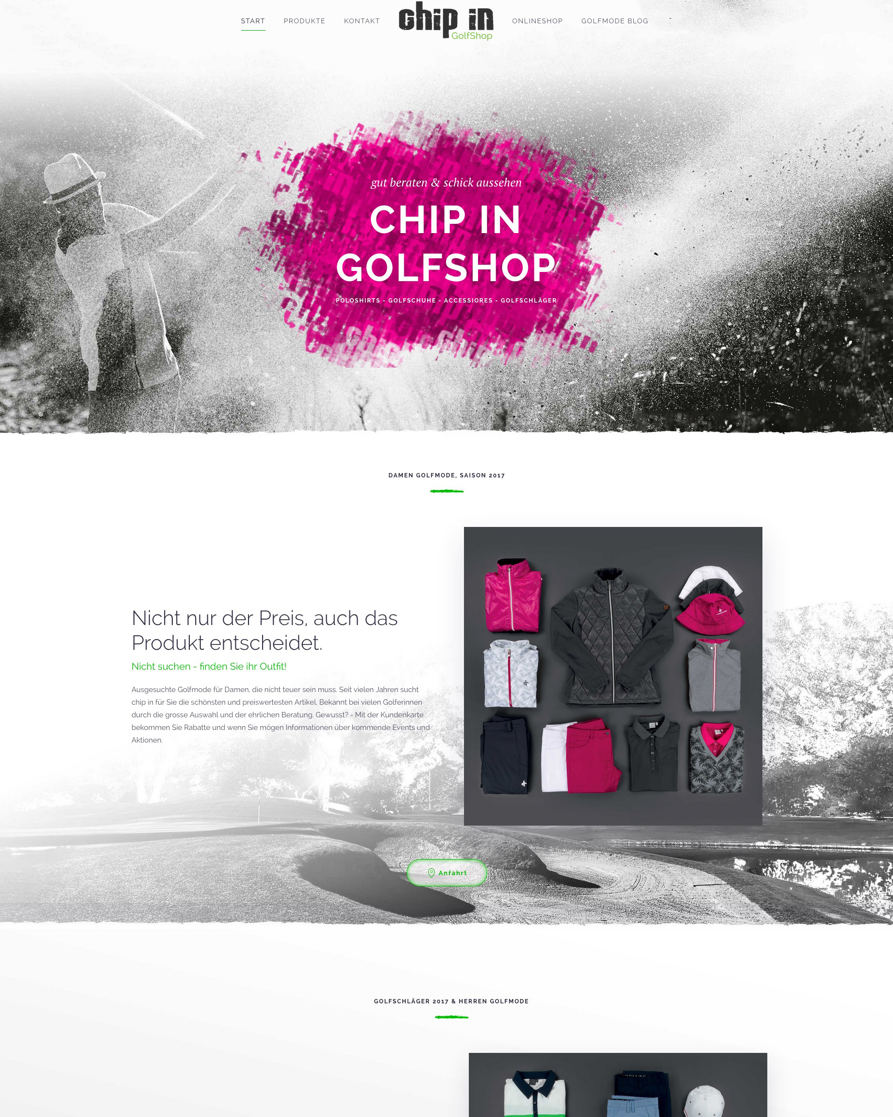 Website chip in Golfshop Berlin Grossbeeren